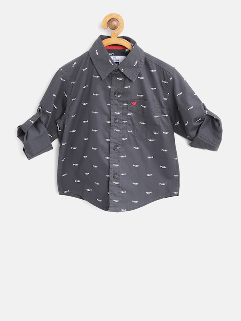 612 league Boys Charcoal Grey & White Regular Fit Printed Casual Shirt