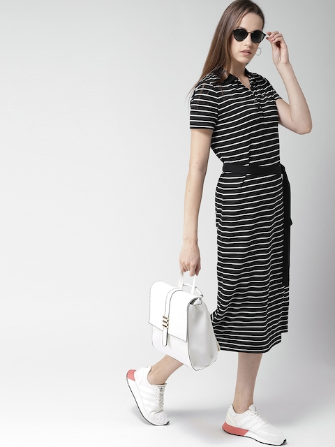 Tommy Hilfiger Women Black & White Striped T-shirt Dress