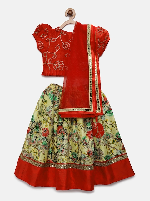 Fairies Forever Girls Red & Yellow Embellished Ready to Wear Lehenga & Blouse with Dupatta