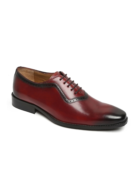 BRUNE Men Burgundy & Black Formal Leather Oxfords