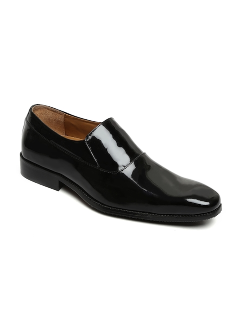 BRUNE Men Black Leather Formal Slip-Ons