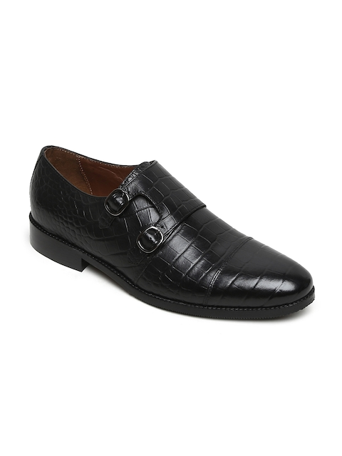 BRUNE Men Black Leather Formal Monk Shoes