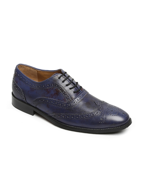 BRUNE Men Navy Blue Leather Formal Brogues
