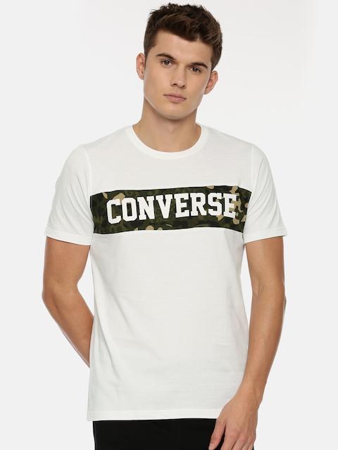 Converse Men White Printed Round Neck T-shirt