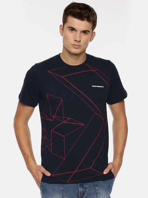 Converse Men Navy & Red Printed Round Neck T-shirt