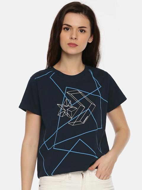 Converse Women Navy Blue Printed Round Neck T-shirt