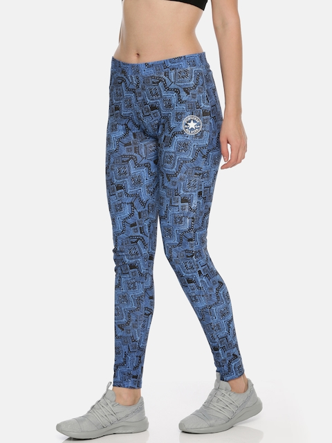 Converse Women Blue & Black Abstract Printed Tights