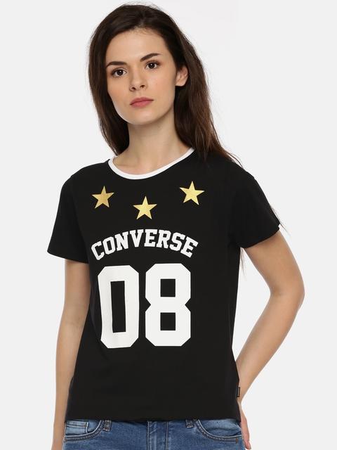 Converse Women Black Printed Round Neck T-shirt