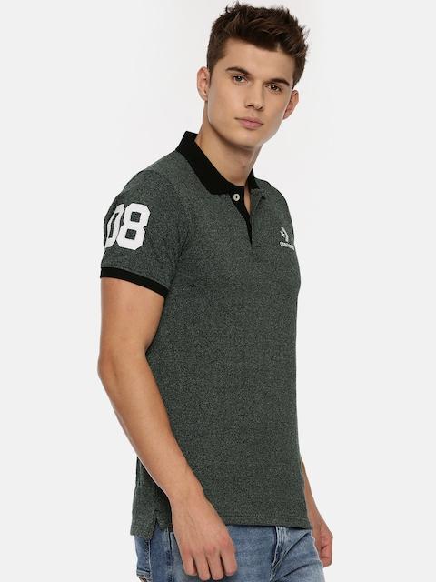 Converse Men Black Solid Polo Collar T-shirt