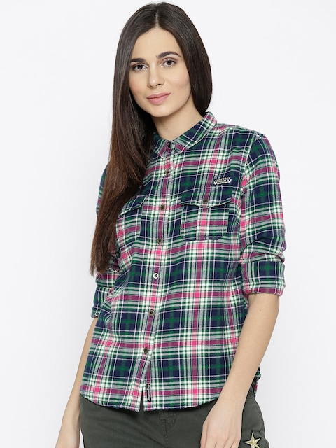 Superdry Women Green & Navy Blue Regular Fit Checked Casual Shirt