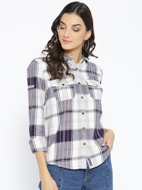 Superdry Women White & Navy Blue Regular Fit Checked Casual Shirt