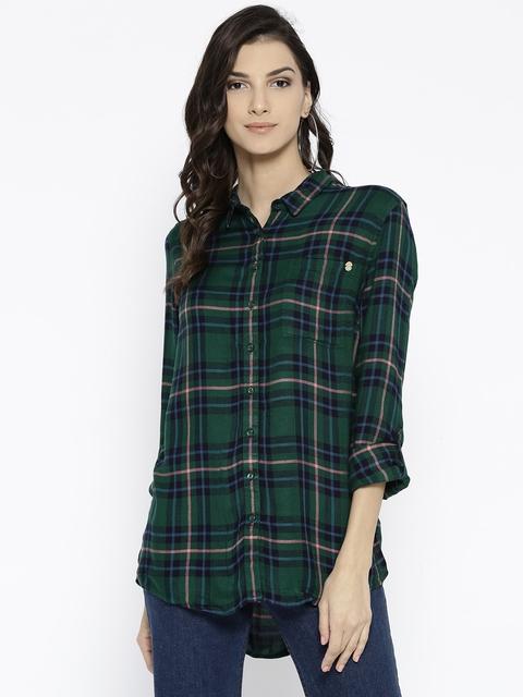 Superdry Women Green & Navy Blue Regular Fit Checked Casual Shirt