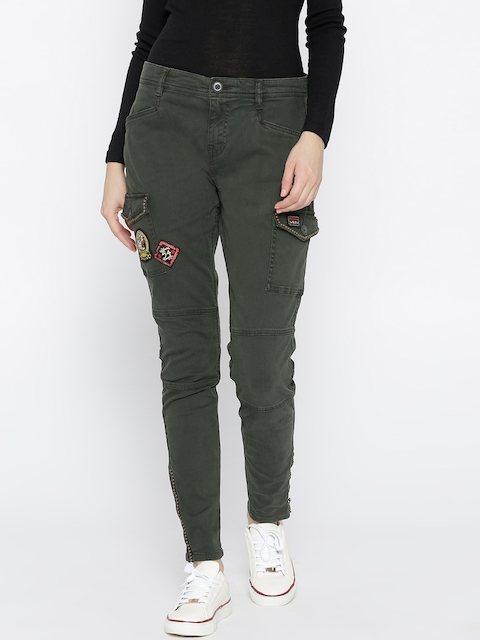 Superdry Women Olive Green Regular Fit Mid-Rise Clean Look Cargos
