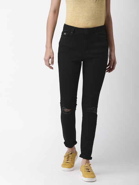 Superdry Women Black Skinny Fit Mid-Rise Slash Knee Stretchable Jeans