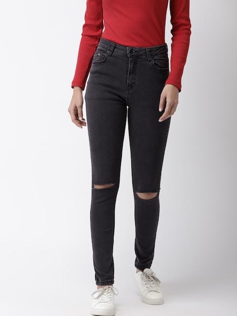 Superdry Women Black Sophia Skinny Fit Mid-Rise Slash Knee Stretchable Jeans