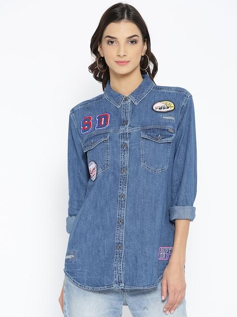 Superdry Women Blue Regular Fit Solid Denim Casual Shirt
