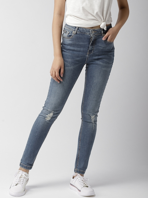 Superdry Women Blue Skinny Fit Mid-Rise Low Distress Stretchable Jeans