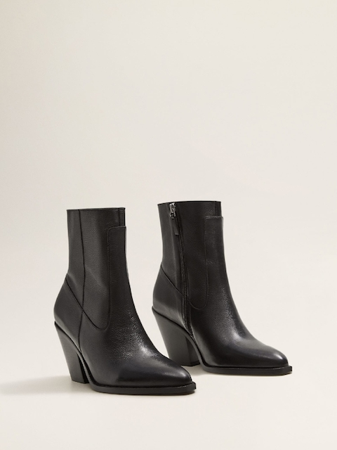 MANGO Women Black Solid Leather Mid-Top Heeled Boots