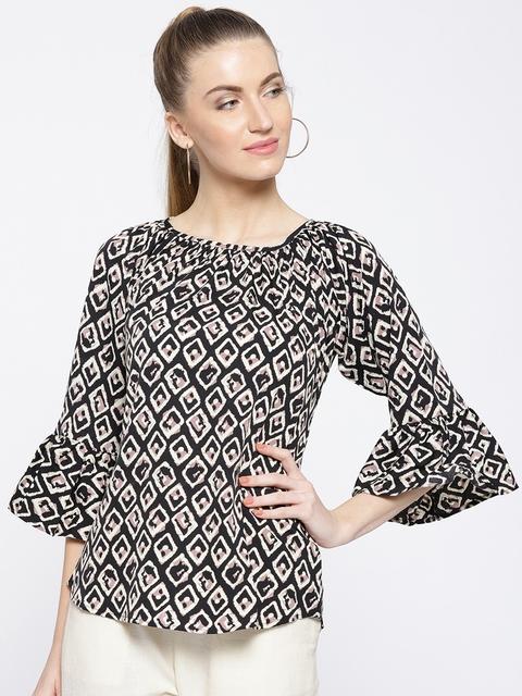 Cottinfab Women Black & White Printed Top