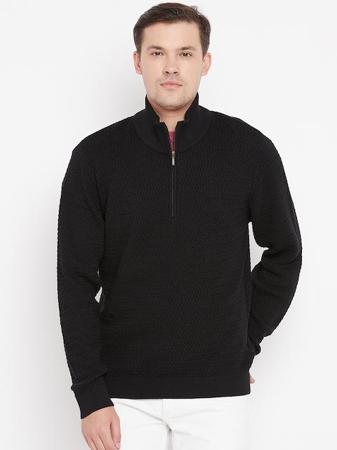 Wills Lifestyle Men Black Self Design Pullover