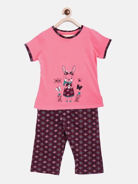 Sweet Dreams Girls Pink & Maroon Printed Night Suit 616018