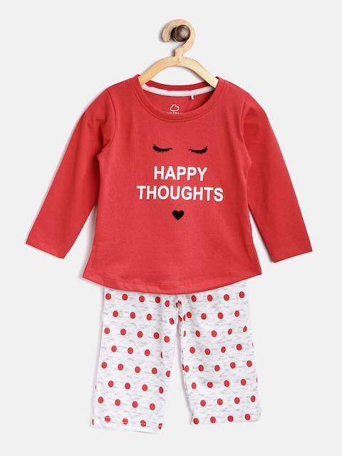 Sweet Dreams Girls Red & White Printed Night Suit 622578