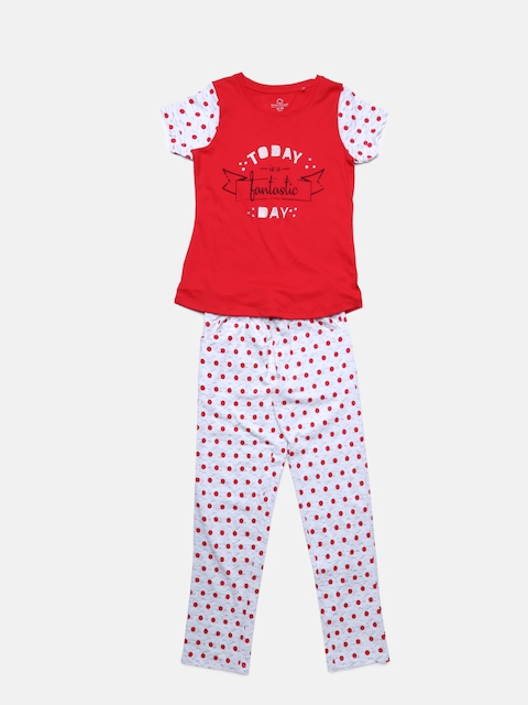 Sweet Dreams Girls Red & Off-White Printed Night suit