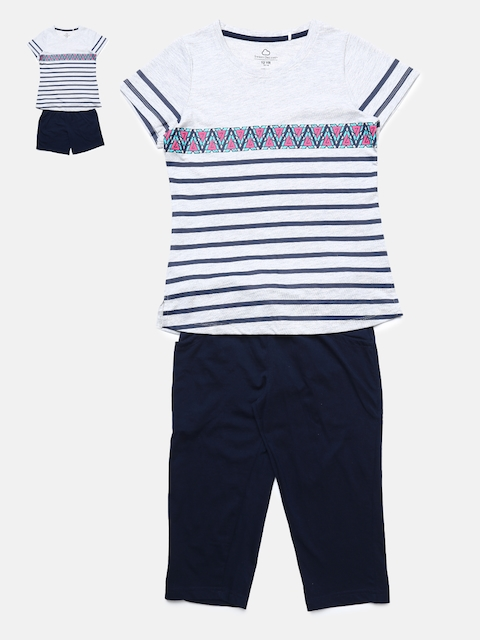 Sweet Dreams Girls Pack of 2 Striped Night Suits