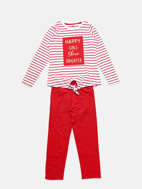 Sweet Dreams Girls Red Striped Night suit