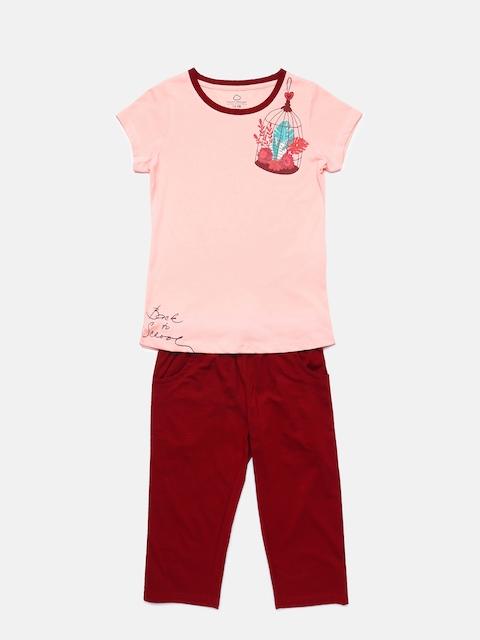 Sweet Dreams Girls Peach-Coloured & Maroon Solid Night suit