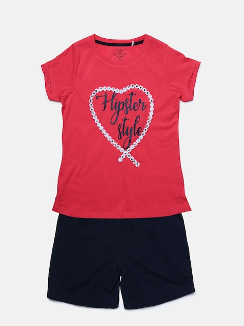 Sweet Dreams Girls Coral & Navy Blue Solid Night suit