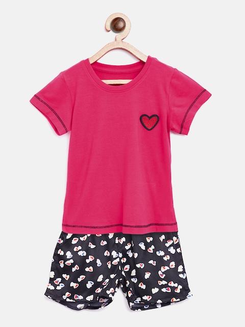 Sweet Dreams Girls Red & Black Printed Night Suit 611718