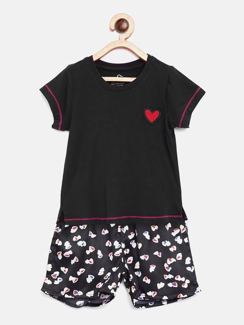 Sweet Dreams Girls Black Printed Night Suit 611718