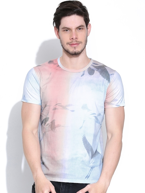 United Colors of Benetton Men Blue & Pink Printed T-shirt
