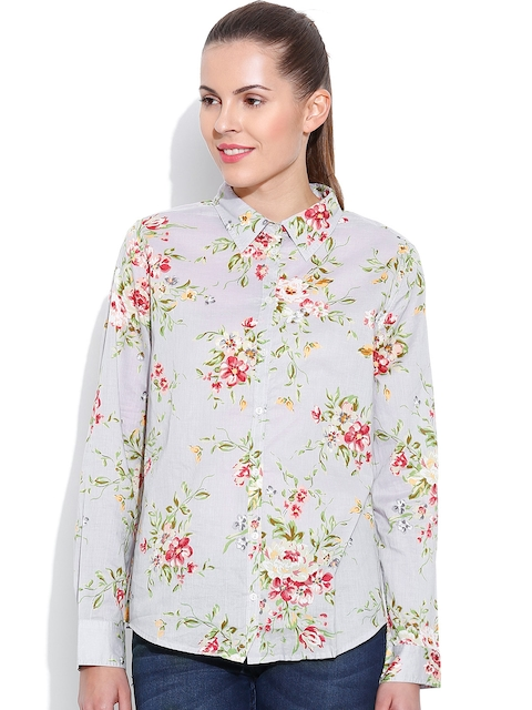 United Colors of Benetton Grey Floral Print Casual Shirt