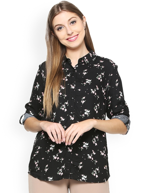 Allen Solly Woman Black Regular Fit Printed Casual Shirt