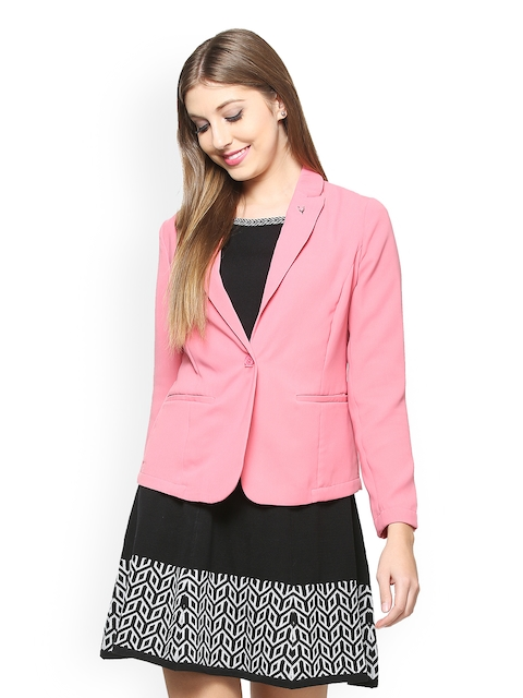 Allen Solly Women Pink Solid Single-Breasted Blazer