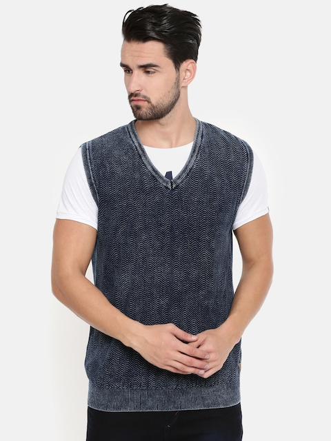 Indian Terrain Men Navy Self Design Sweater Vest