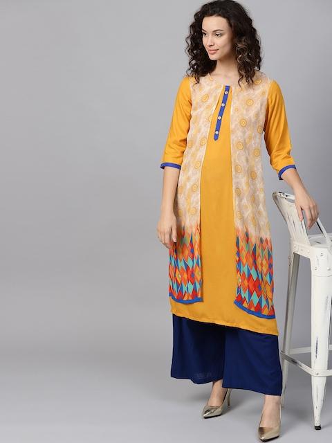 Shree Women Mustard Yellow & Beige Layered Printed Straight Kurta