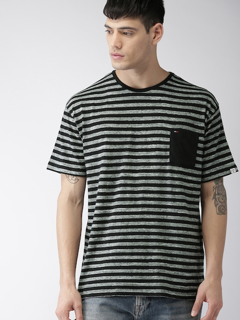 Tommy Hilfiger Men Black & Grey Striped Round Neck T-shirt