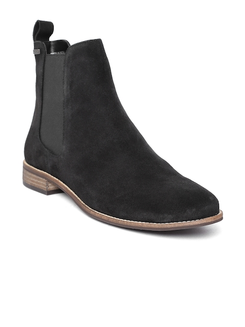 Superdry Women Black Solid Suede Mid-Top Chelsea Flat Boots