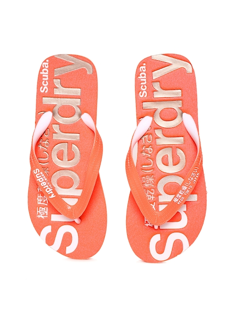 Superdry Women Coral Orange Printed Thong Flip-Flops