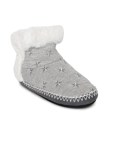 Superdry Women Grey Woven Design Textile Mid-Top Flat Boots