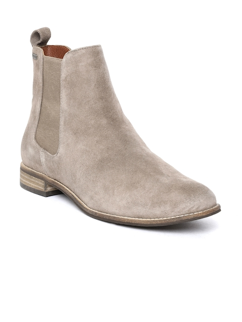 Superdry Women Brown Solid Suede Mid-Top Chelsea Flat Boots