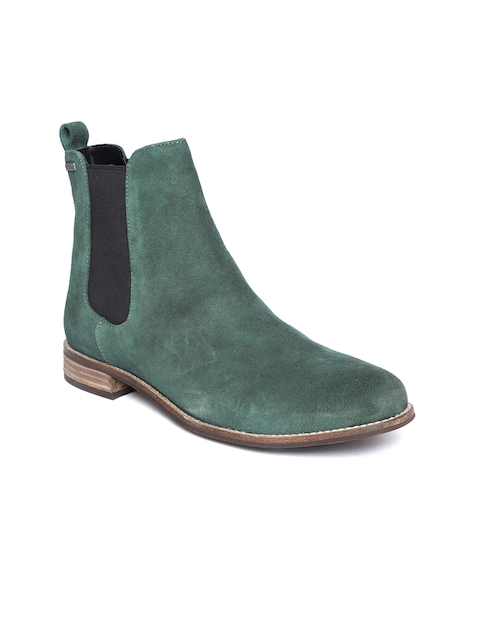 Superdry Women Green Solid Suede Mid-Top Flat Boots