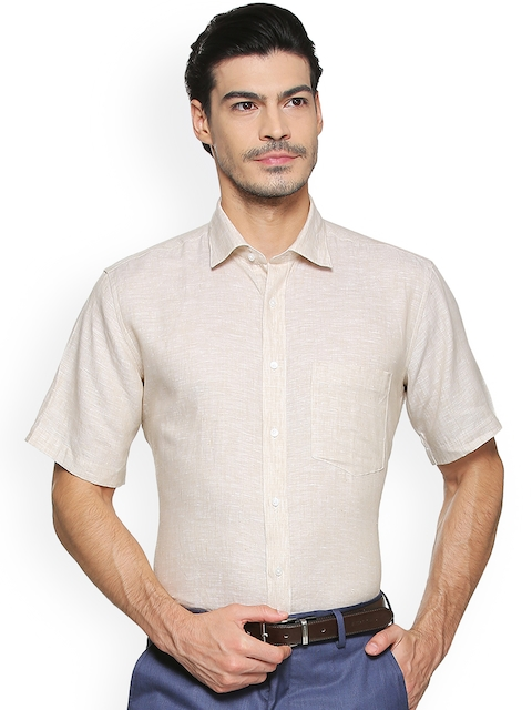 Van Heusen Men Beige Regular Fit Self Design Formal Shirt