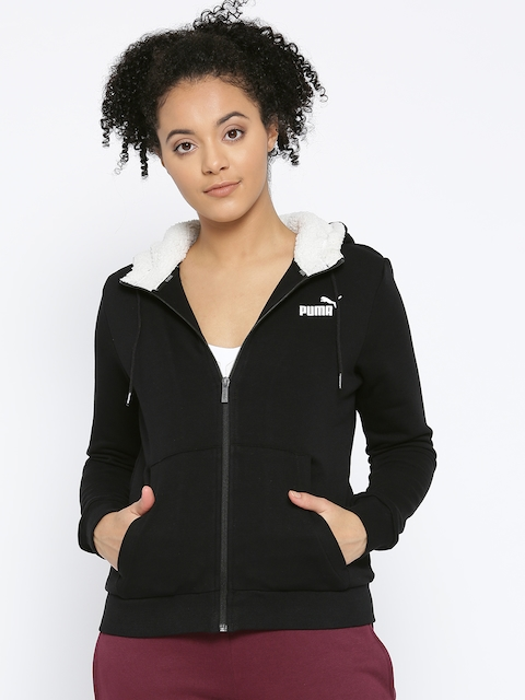 Puma Women Black Solid ELEVATED ESS Collegiate FZ Hoody