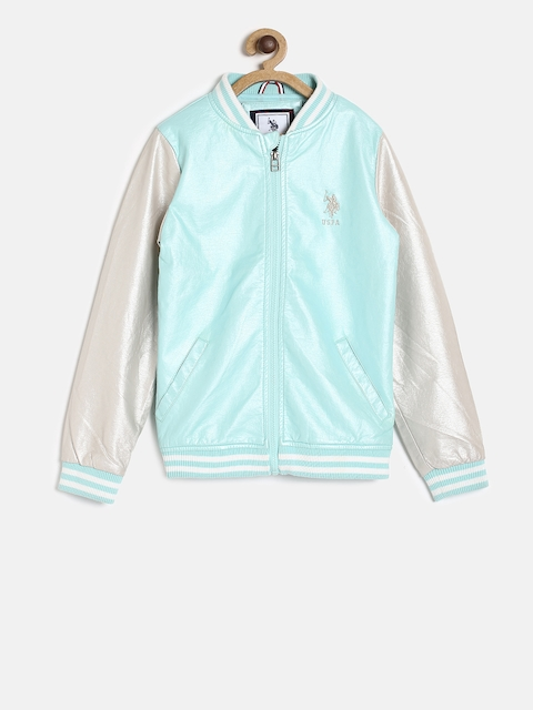 U.S. Polo Assn. Kids Boys Blue & Grey Colourblocked Bomber Jacket