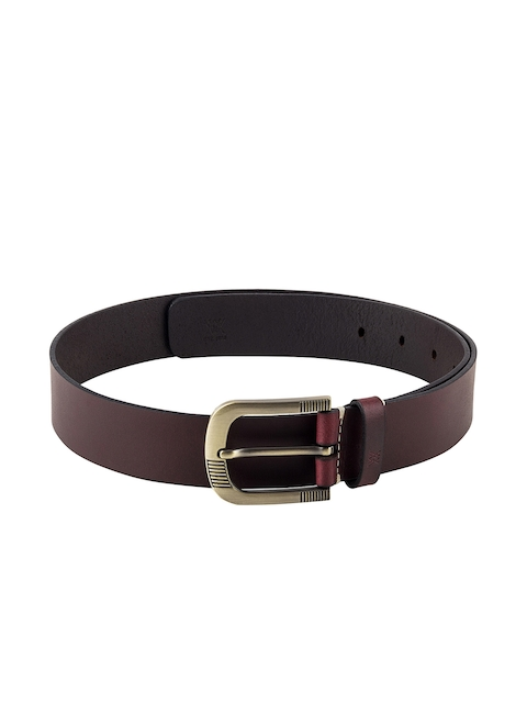 Aditi Wasan Men Burgundy Solid Genuine Leather Belt
