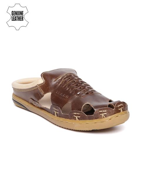 tZaro Men Brown Leather Handmade Clogs